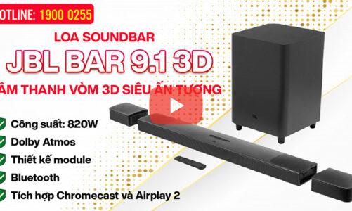Loa Soundbar JBL BAR 9.1 3D – Âm thanh vòm 3D, 820W, Dolby Atmos, Chromecast và Airplay 2, Bluetooth